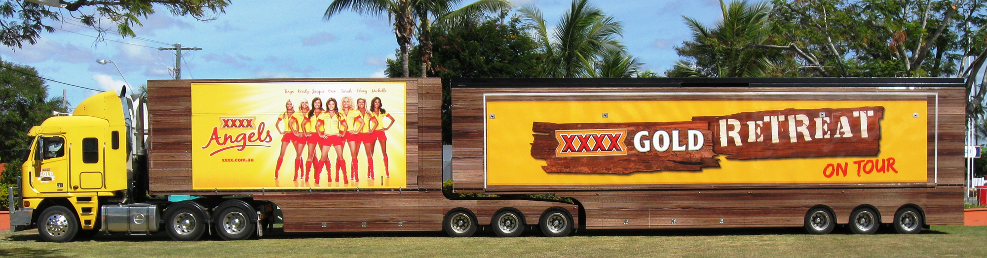 The world-famous XXXX Gold Retreat. Truck advertising. Vehicle-based events. Custom build. Fleet graphics. Truckside advertising. Vehicle Wraps. Trailer wraps. XXXX Angels. V8 Supercars. Lion Nathan. XXXX Gold.