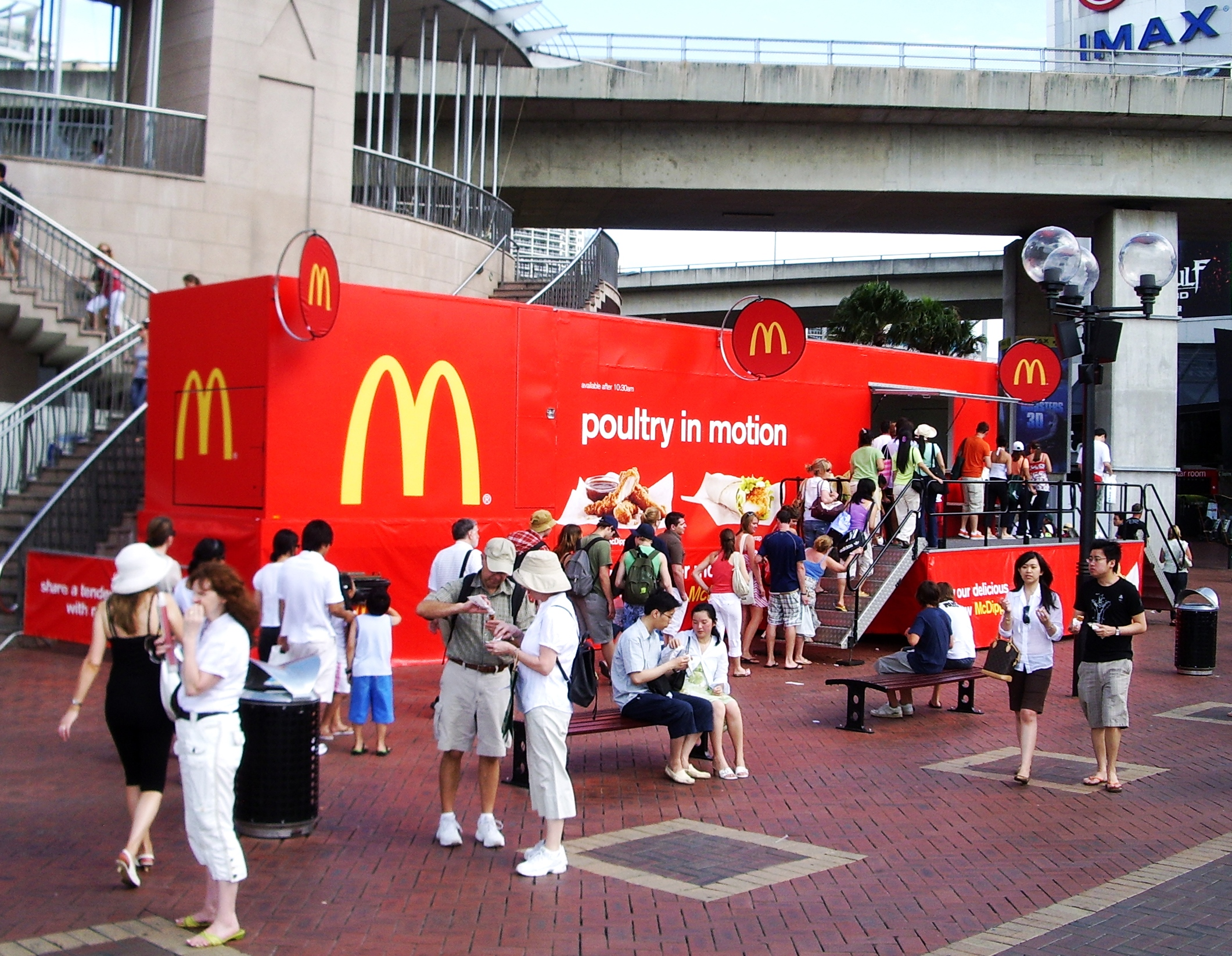 Truck advertising. Vehicle-based events. Custom build. Fleet graphics. Truckside advertising. Experiential marketing. McDonalds poultry in motion campaign. Darling Harbour Sydney.