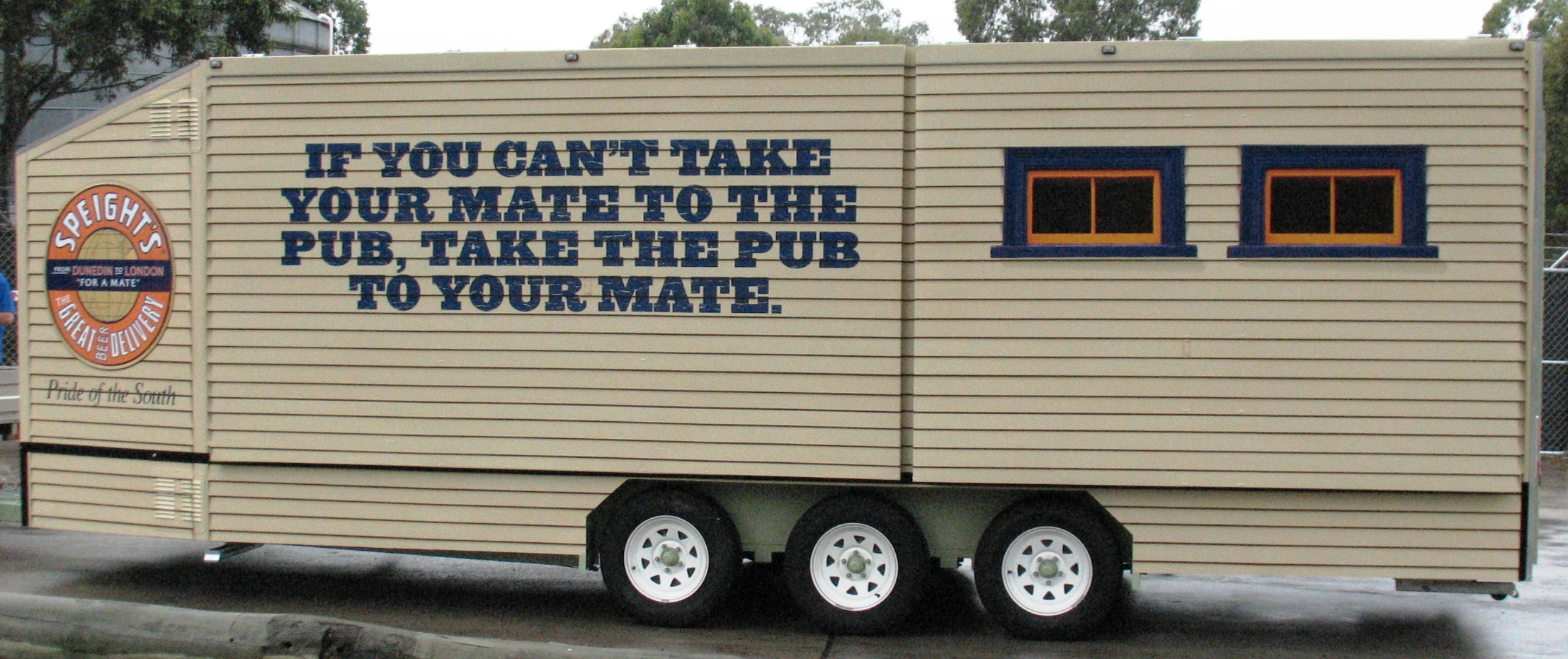 Vehicle-based events. Custom build. Fleet graphics. Vehicle Wraps. Trailer wraps. Speight's Ale House. Lion Nathan. Pride of the South. From Dunedin to London for a mate campaign.