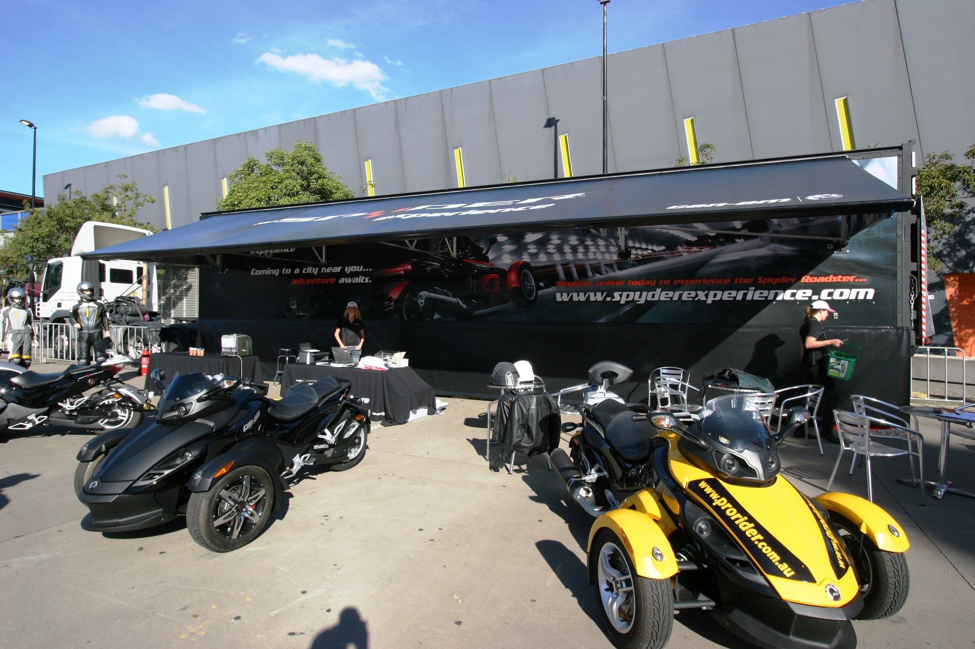 Truck advertising. Vehicle-based events. Custom build. Fleet graphics. Truckside advertising. Vehicle Wraps. Trailer wraps. The Spyder Experience. Can-am. Prorider. Black pantech. Experiential marketing.