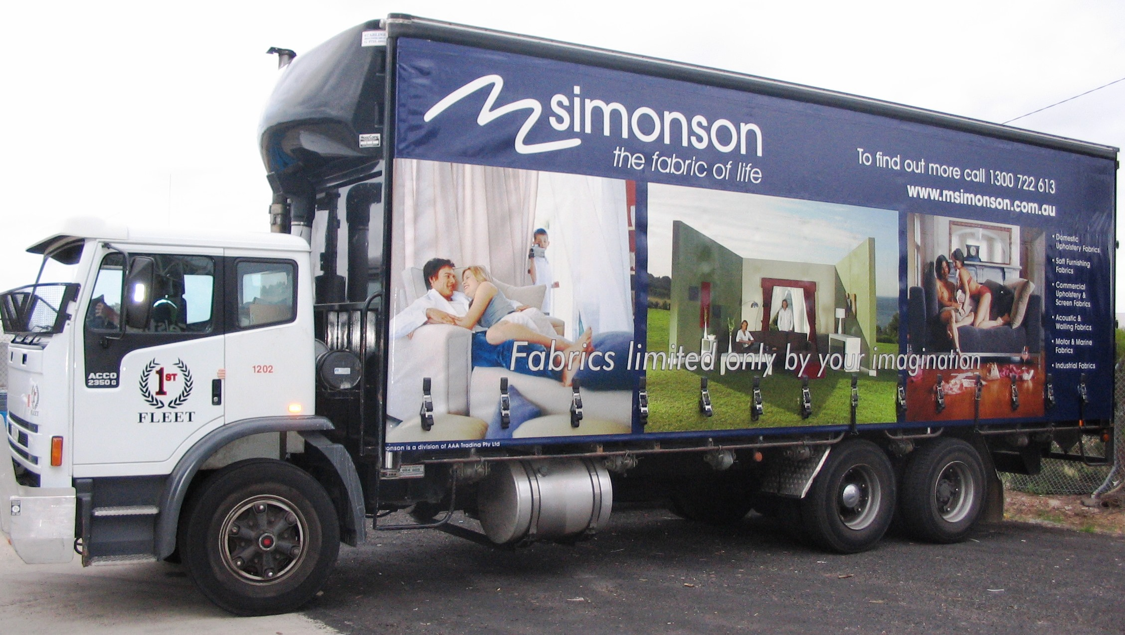 Truck advertising. Truckside Advertising. Rigid Tautliner. Simonson The Fabric of Life campaign tri-axle semitrailer. Textiles.