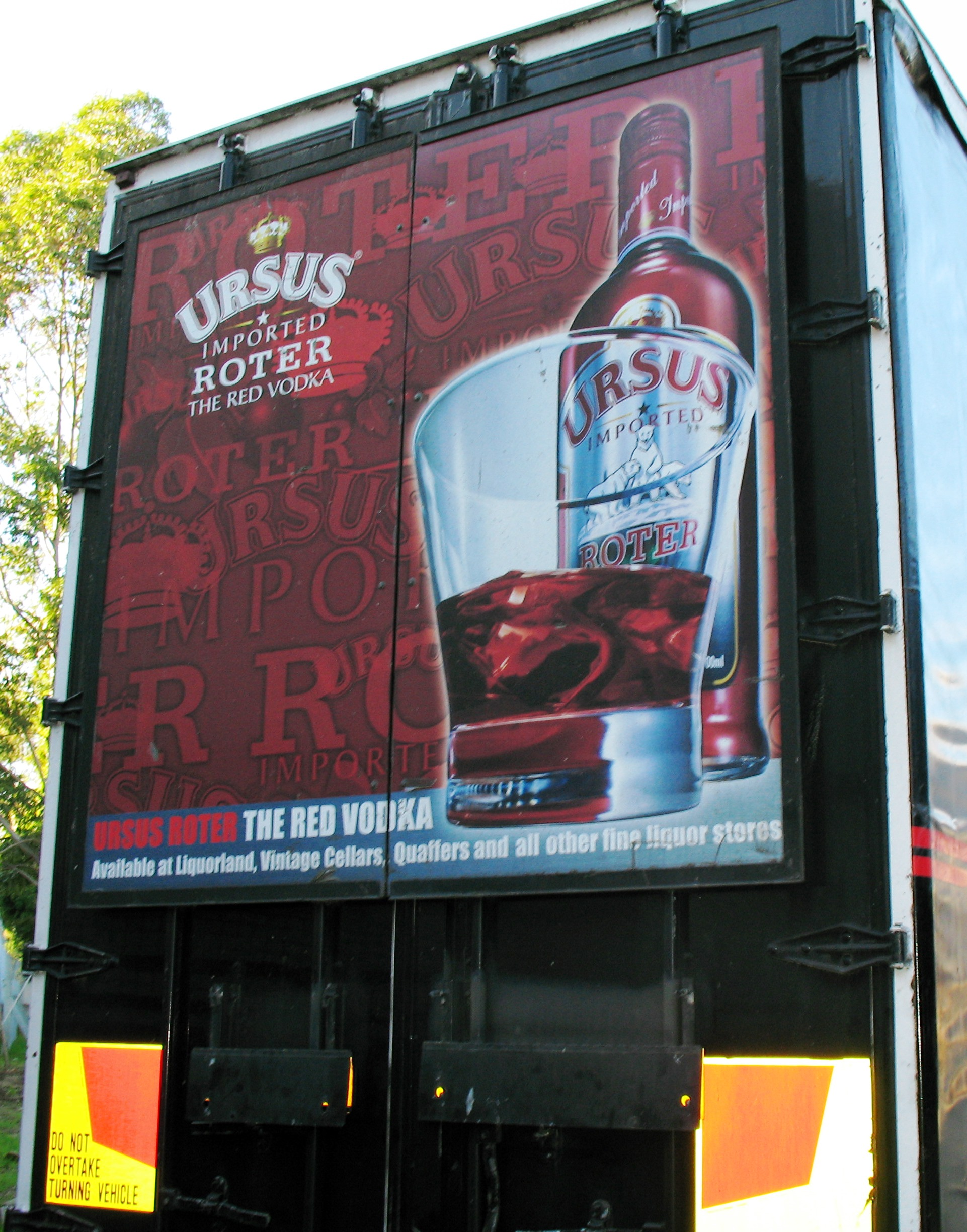 Truck advertising. Ursus Imported Roter The Red Vodka campaign. TruckBack on First Fleet rigid. Frame.