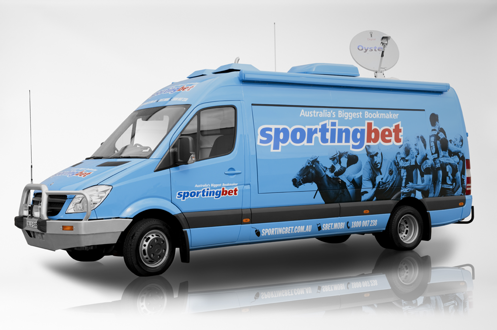 Vehicle-based events. Custom build. Fleet graphics. Sportingbet Mercedes van with satellite dish.