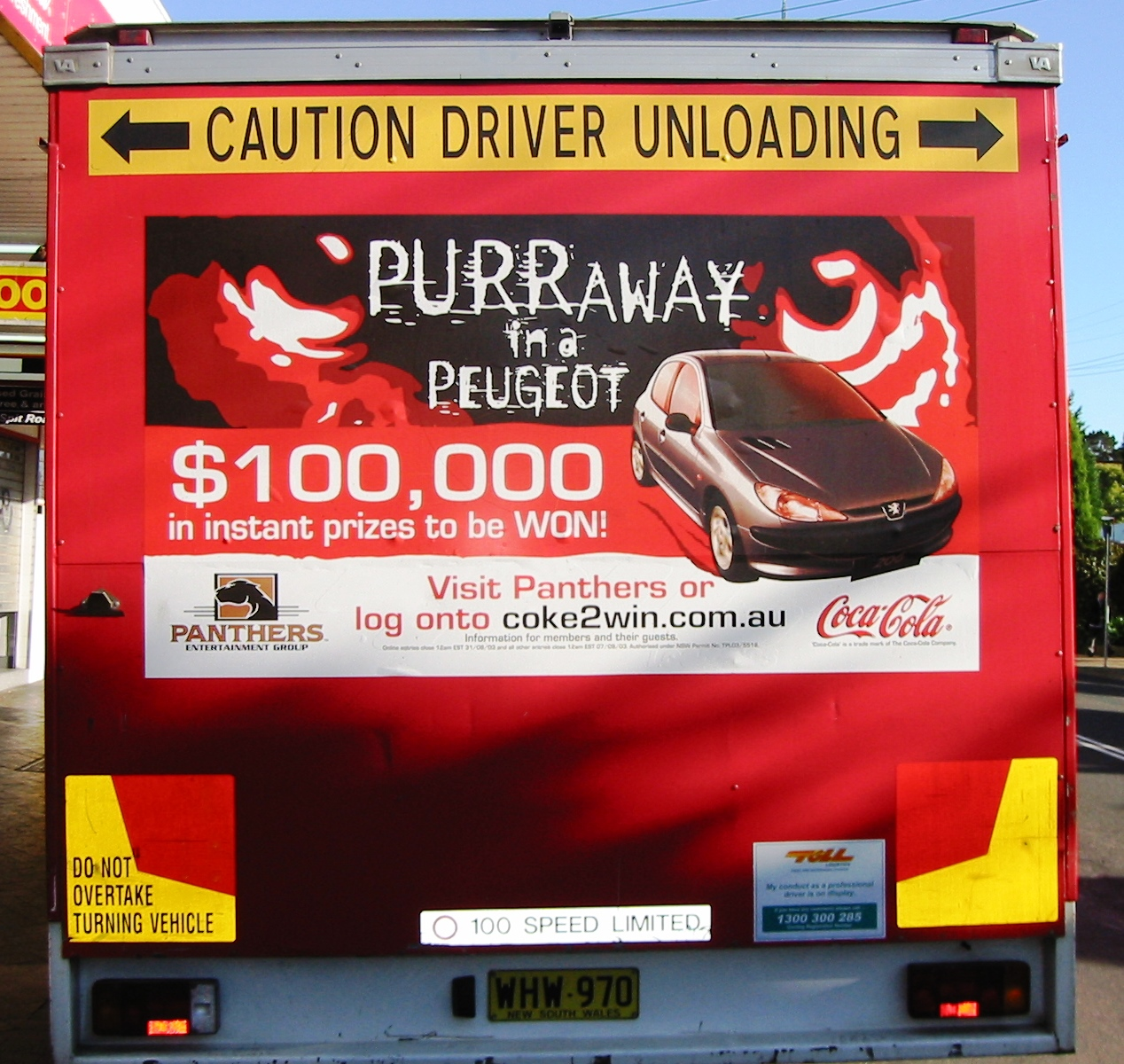 Fleet graphics. TruckBacks. Coca Cola. CCA. Peugeot Panthers Entertainment Group Promotion. CocaCola South Pacific. Toll. Flatback. Artarmon.
