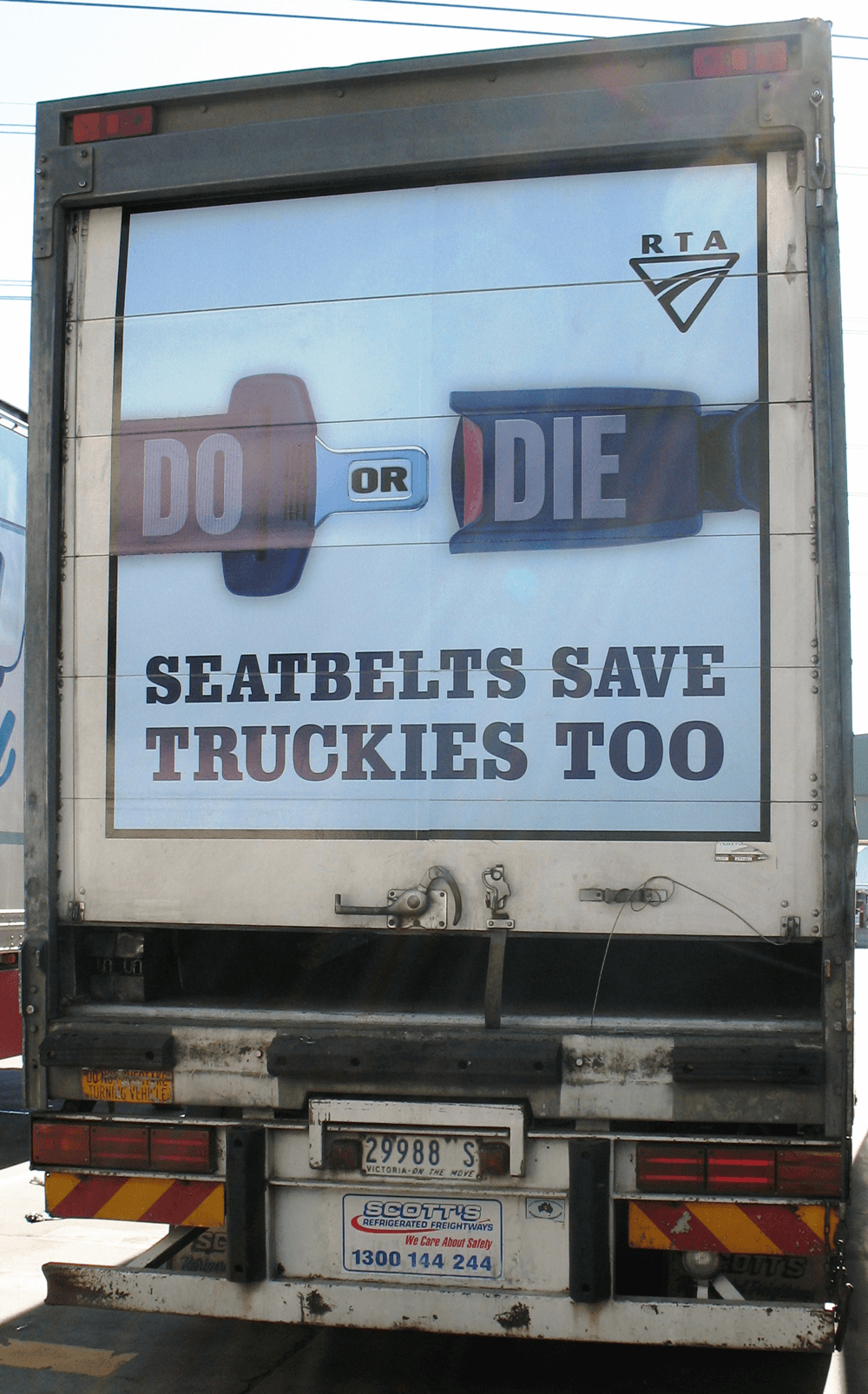 Truck advertising. RTA TruckBack Scotts pan - Seatbelts Save Truckies Too RMS TfNSW