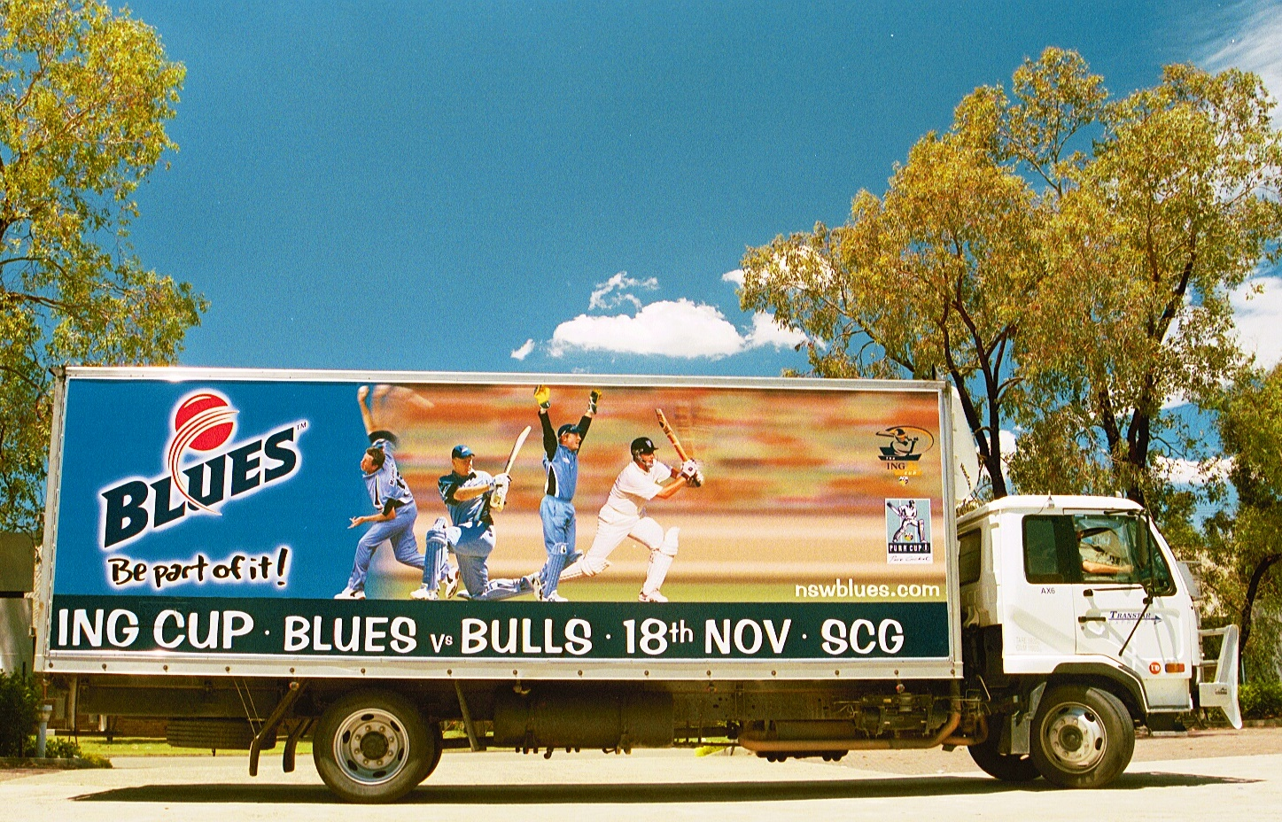 Truck advertising. NSW Blues TruckWrap at Silverwater. TruckSide, Pan, Cricket, ING Cup