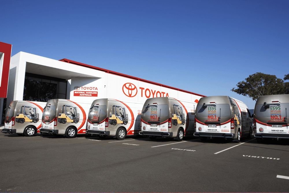 Fleet graphics. Vehicle graphics. Truck advertising. TMHA Toyota Material Handling Australia 6 Hiace service vans at Moorebank HQ.