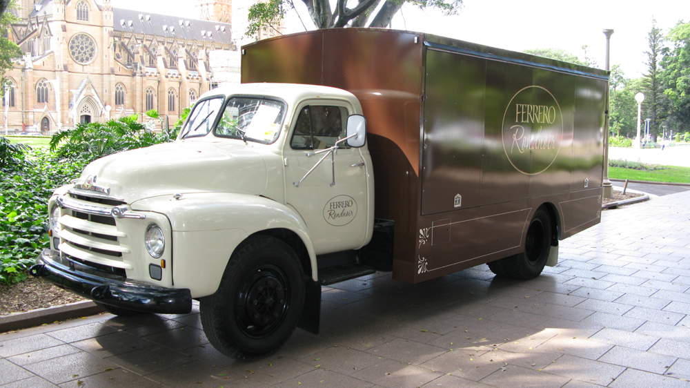 Vehicle-based events. Custom build. Fleet graphics. Ferrero Rocher Rondnoir campaign. Vintage rigid truck. Chocolate. Special build. Restoration. Hyde Park North, Sydney.