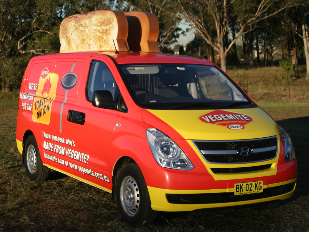 Vehicle-based events. Custom build. Fleet graphics. Hyundai iLoad. Vegemite Toast of the Nation campaign. Kraft. Toaster van.
