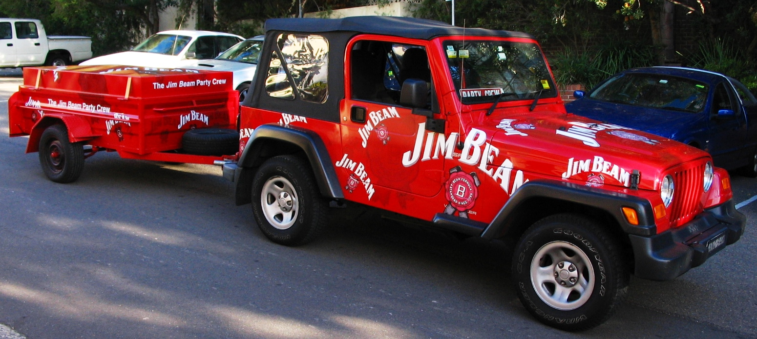 Fleet graphics. Jim Beam Jeep and box trailer. Alcohol sampling and promotions. Vehicle graphics.
