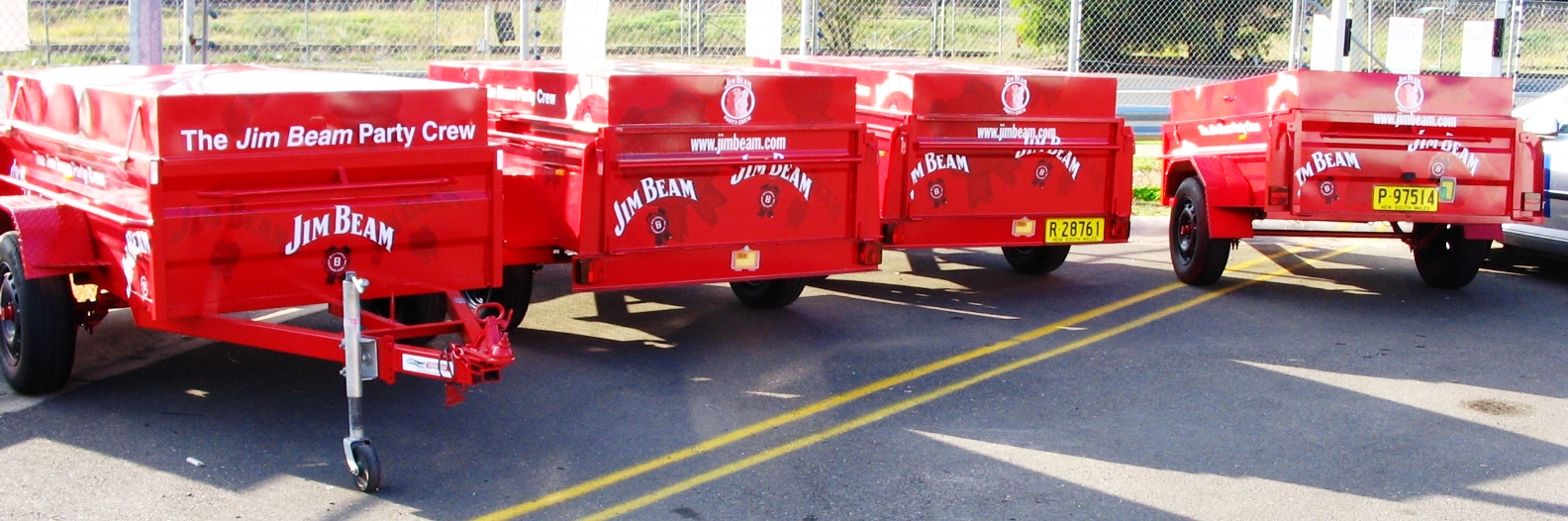 Fleet graphics. Jim Beam box trailers. Alcohol sampling and promotions. Vehicle graphics.