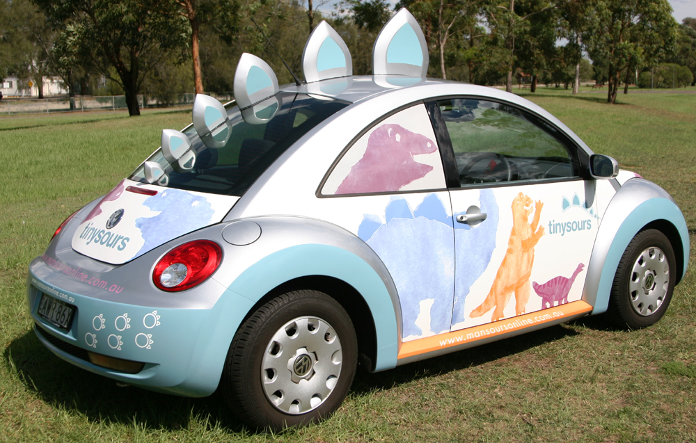 Vehicle-based events. Custom build. Fleet graphics. Tinysours Mansours New Beetle Mansoursonline. Haberfield NSW. Dinosaurs. Special build.