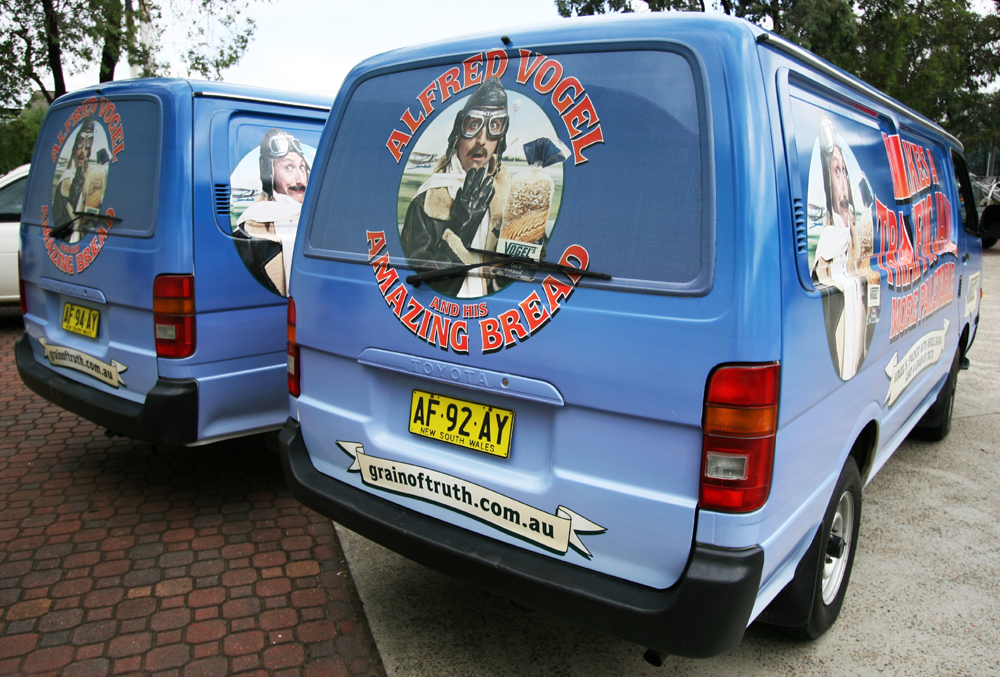 Vehicle-based events. Custom build. Fleet graphics. Vehicle Wraps. Vogels. Makes a Traffic Jam More Palatable campaign. Toyota Hiace vans.