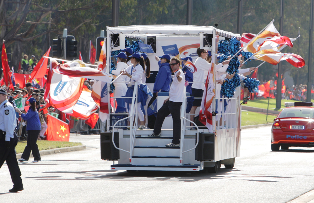Vehicle-based events. Custom build. Fleet graphics. Samsung 2008 Olympics parade. Canberra, ACT. Flags. Beijing. Special build rigid.