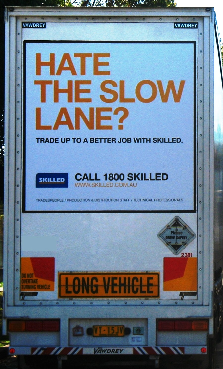 Truck advertising. TruckBack. Hate The Slow Lane? campaign. Trade up to a better job with skilled. Flatback B Double long vehicle First Fleet. Vawdrey.